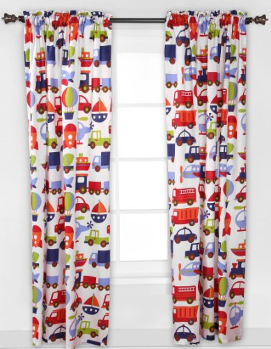 Bacati - Transportation Multicolor Single Curtain Panel