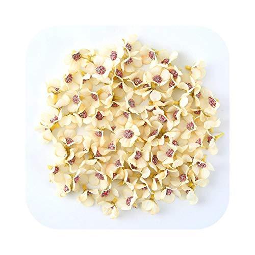 Fake Flower - Lote de 100 mini margaritas de flores artificiales, para decoración de flores, color amarillo