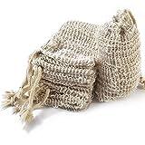 YOOHUA 22PCS Soap Exfoliating Bag Pouch Soap Saver Natural Ramie Soap Bag Hand Made Soap Bag Mesh Soap Saver Bags with Drawstring for Bath & Shower Use