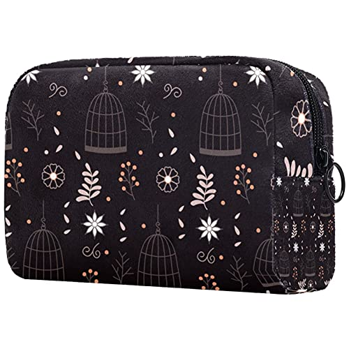 Toiletry Bag Cosmetic Travel Makeup Organizer Wash Bag Pouch with Zipper Brown Hanging Birdcage with Flowers for Travel Accessories Essentials