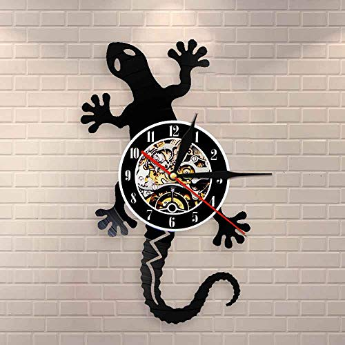 FDGFDG Retro Nature Art Zoology Lizard Reloj de Pared Safari Gecko Vinyl Record Reloj de Pared Silueta Animal Salvaje Icono Reloj Vintage