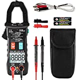Reenwee Digital Clamp Meter T-RMS 6000 Counts, Multimeter Voltage Amp Ohm Tester Auto-ranging, Measures Current Voltage Temperature Capacitance Resistance Diodes Continuity Duty-Cycle (AC/DC Current)