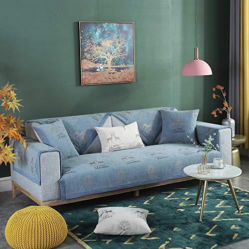 Homeen Funda de sofá de 1/2/3 plazas, estilo nórdico, protector de sofá de ciervos, funda antideslizante para sofá, funda de sofá jacquard cómoda, funda fina para muebles - azul oscuro - 45 x 45 cm