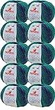 Paquete de lana de merino degradado con purpurina discreta, paquete de 10 ovillos de 50 g Mondial Cosmo 928, para punto o ganchillo