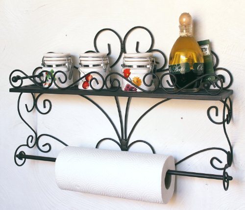 Wandregal Especias Wandkonsole 53cm Küchenregal aus Metall Badregal Wandablage Kräuterregal Küchenrollenhalter