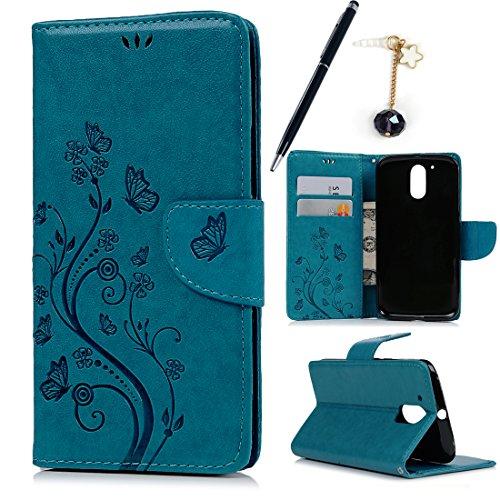 MAXFE.CO Leder Tasche Hülle Cover für Motorola Moto G4 Plus Hülle PU Schutz Etui Schale Blau Muster Geschnitzte Design Backcover Flip Cover Wallet mit Standfunktion Karteneinschub & Etui
