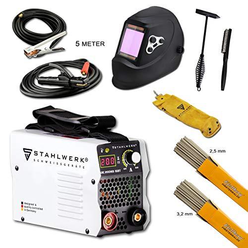 STAHLWERK ARC 200 MD IGBT Vollausstattung - Schweißgerät DC MMA/E-Hand Welder mit echten 200 Ampere sehr kompakt, weiß, 7 Jahre Herstellergarantie