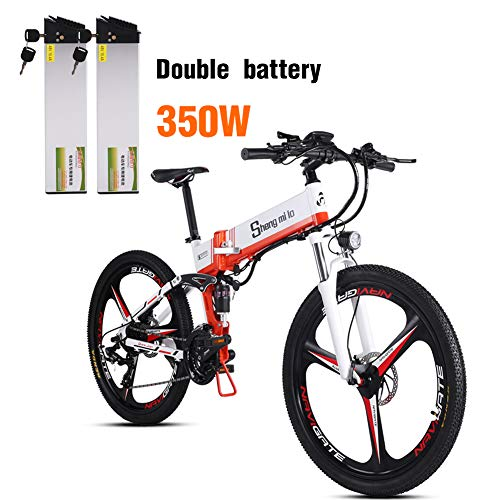 Shengmilo e Bike Elektrofahrrad 26 Zoll e-Bike Mountainbike Klappbar Electric Fahrrad ebike Herren Damen 350W Moto 48V 12.8A Lithium Batterie Shimano 21 Gang Doppelte Hydraulische Scheibenbremse