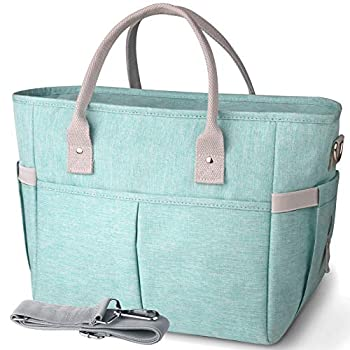 KIPBELIF Insulated Lunch Bags for Women - Large Tote Adult Lunch Box for Women with Shoulder Strap Side Pockets and Water Bottle Holder Aqua Green Extra Large Size