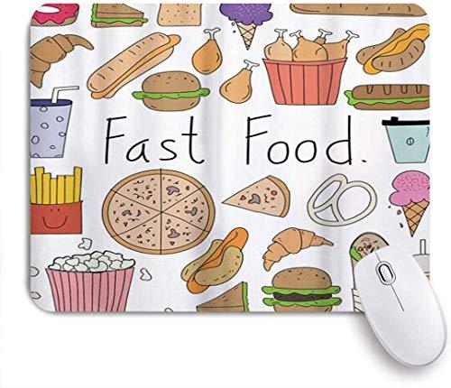 Fast Food Schriftzug Aliment Doodle Eis Sandwich Hamburger Pommes Donuts Pizza Multicolor Mausunterlage,Schreibtischunterlage,Gummiunterseite Maus Pad,Mausmatte