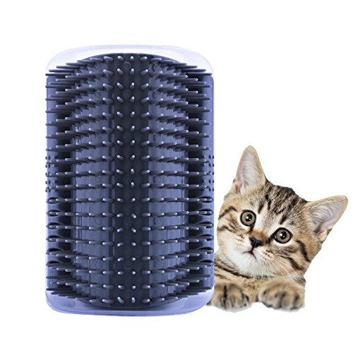 ADESUGATA Katze Bürste,Pet selbst Groomer Haarentfernung Massage-Bürste Katzenminze Fellpflege Kützchen Wand Ecke Kamm Arch Kitten Massaging Pet Self Grooming Bristle Groomer Toy (Grau)