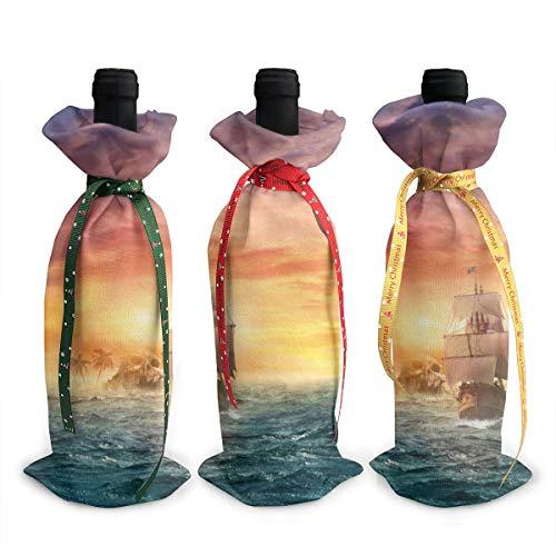Piratensegel Weihnachten Wein-Geschenktüten für rote Weinflaschen Geschenktüten mit Kordelzug Bierflaschen Wraps Reise 3 Stück Einheitsgröße weiß