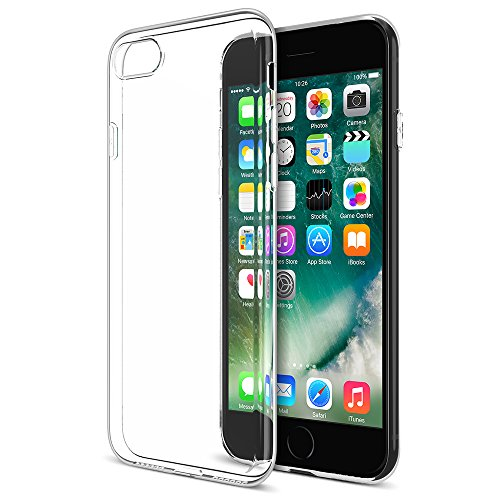 Maxboost iPhone 7 Case, [Liquid Skin] Extreme Thin Case for Apple iPhone 7 2016-0.4mm Ultra Clear Soft Flexible Gel TPU Transparent Skin Scratch-Proof Bumper Cases - Ultra Clear