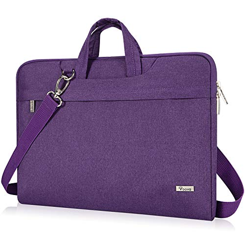 Voova 17 17.3 Inch Laptop Sleeve Case, Slim Women Computer Shoulder Hand Bag Compatible with Razer Blade Pro 17, Lenovo Dell Asus Acer HP Notebook Messenger Briefcase with Strap, Waterproof, Purple