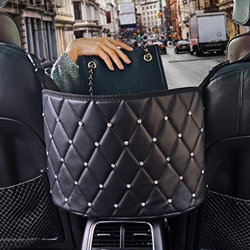Witeo Car Net Pocket Handbag Holder ,Car Leather Seat Back Organizer Large Capacity Net Bag,Purse Storage & Pocket between Car Seat Storage ,Barrier of Back Seat Pet Kids(Leather-Rinestone)