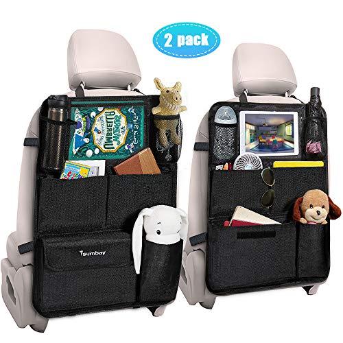 Tsumbay Auto Rückenlehnenschutz 2 Stück Wasserdicht Auto Rücksitz Organizer für Kinder, Durchsichtigem Große Taschen und iPad-Tablet-Fach, Multifunktionale Auto Aufbewahrungstasche