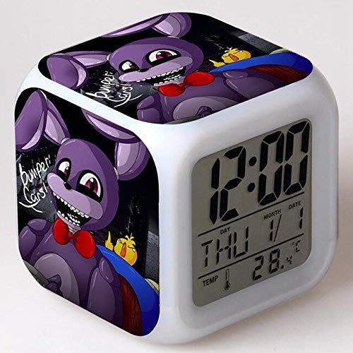 shiyueNB Luz de Noche Mundial LED 7 Colores cambiantes Reloj Despertador Digital refrescante Reloj Despertador de Noche en niños Reloj Chocolate