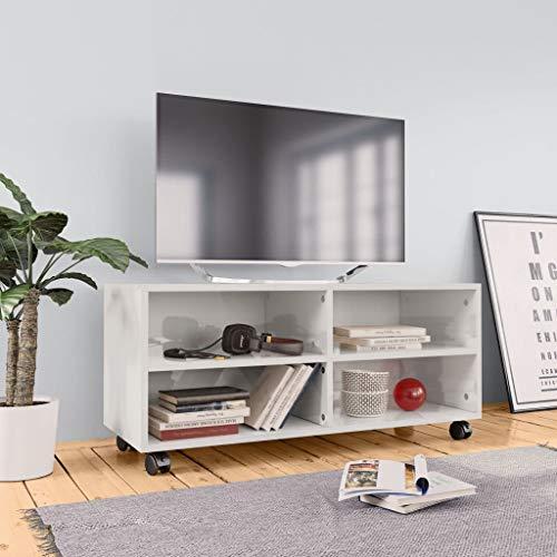 Tidyard TV Schrank mit Rollen Fernsehtisch TV Lowboard Hochglanz-Weiß Fernsehschrank TV Tisch TV Board TV Möbel Schrank Wohnzimmer, 4 Offenen Fächern 90×35×35 cm