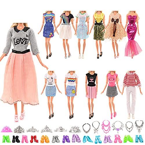 Miunana 27 Kleidung Schmuck Zubehör Kleider für Puppen = 5 Kleidung + 10 Schuhe + 6 Ketten + 6 Kronen für Puppen