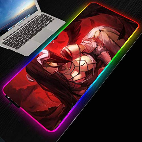 Anime Overlord LED Gaming Mauspad RGB Large Gamer Mousepad USB-Tastatur Computermatte Schreibtischpad für PC Laptop Computer-400 x 900 mm_Dicke 4 mm