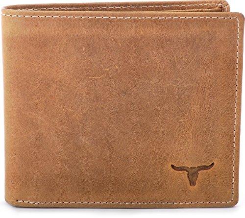URBAN FOREST, Cntmp, Leder, Geldbörse, Portemonnaie, Börse, Brieftasche, Querformat, Natur-Leder, 11x9,5x1,5 (B x H x T), Camel. Cognac, Einheitsgröße