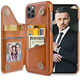 LOHASIC for iPhone 13 Pro Max Wallet Case Men, 5 Card Holder Phone Cover Credit Slot PU Leather Stand Magnetic Folio Portfolio Women, Classic Fancy Travel Photo Pocket 6.7 Inch 13 ProMax 2021 Brown