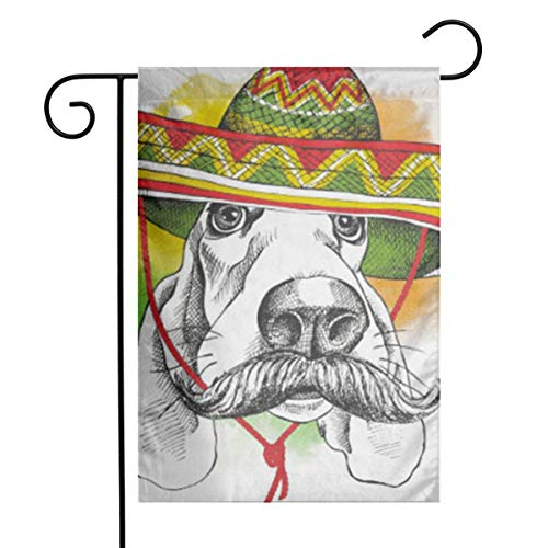 GDjiuzhang Cool Portrait Dog Basset Hound Mustache in Mexico Sombrero Funny Hat Mexican Home Garden Flag - Premium Material Yard Decoration& Outdoor Decoration 12x18 Inches Basset Hound Dog Portrait
