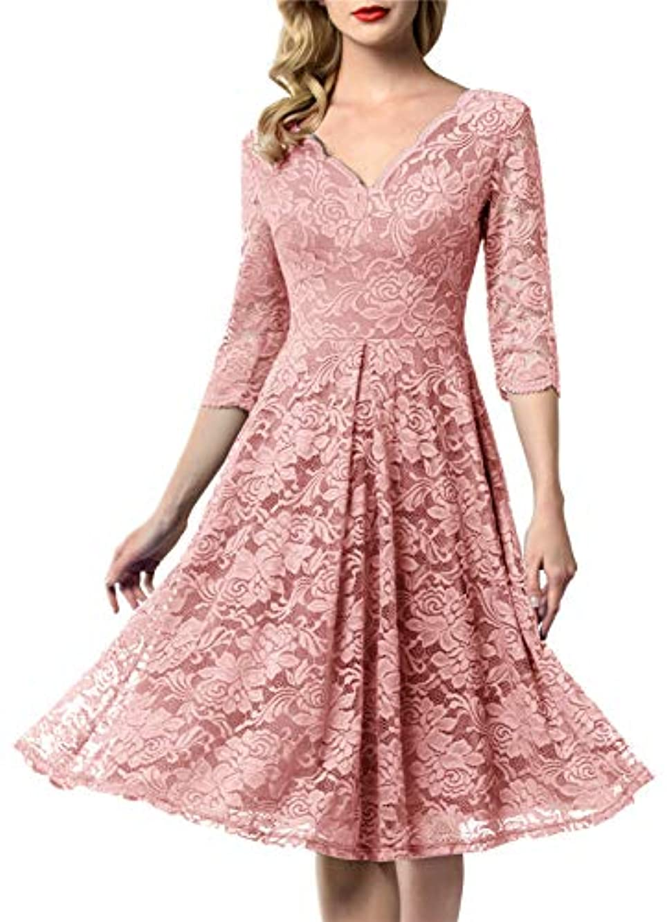 AONOUR Women's Vintage Floral Lace Bridesmaid Dress 3/4 Sleeve Wedding Party Midi Dress