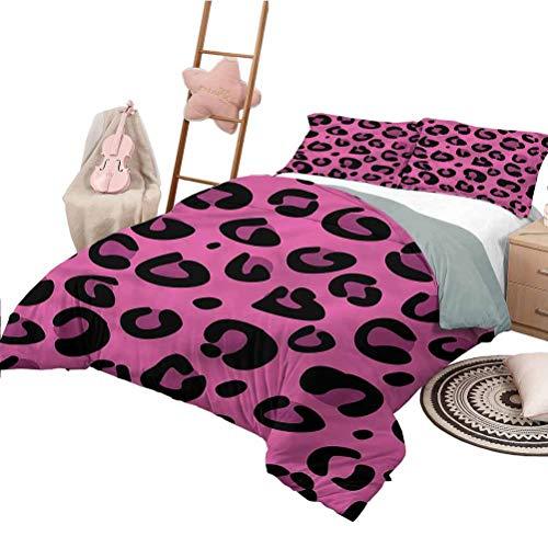 Nomorer 3 Piece Quilt Set Full Size Hot Pink Bedding Bag Leopard Animal Skin