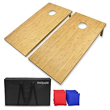 GoSports Bamboo 4' x 2' Bamboo Cornhole Set with 8 Bean Bags & Carrying Case - Premium All Weather Design, Wood, Regulation