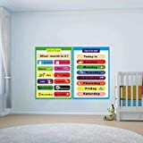 2 Pieces of Set Educational Preschool Poster for Toddlers and Kids | Great for Nursery Homeschool Kind Classroom decorations | Months of The Year & Days of The Week Poster Chart(17x24in)