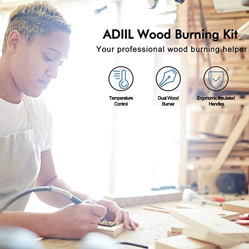Wood Burning Kit, Wood Burning Tool, Professional Wood Burner Kit with 23pcs Pyrography Kit Wire Tips 60W Pyrography Wood Burning Kits for Adults and Beginners, Dual Pen