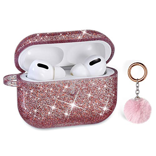 Airpods Pro Case, DMMG Airpods Case Cover Silicone Skin, AirPods Protective Cute Bling Glitter Case with Fluff Ball Keychain, Scratch Proof and Drop Proof for Apple Airpods Pro (Dark Red)