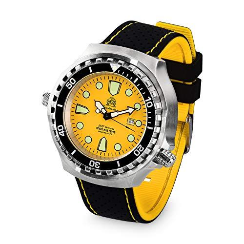 Tauchmeister Reloj de buceo profesional T0314SE XXL, 100 atm, correa de poliuretano, 52 mm
