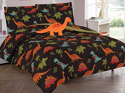Twin & Full 6 Pcs or 8 Pcs Comforter/ Coverlet / Bed in Bag Set with Toy (Full, Dinosaur Brown)