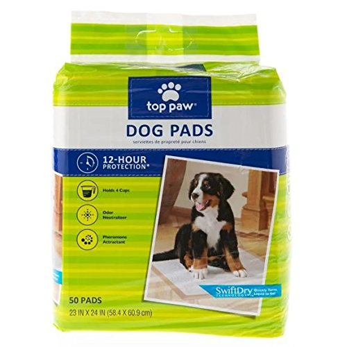 TOP PAW Dog Pads for Puppy Training, Indoor Dogs or Apartment Living, or Dogs with Incontinence. 12-Hour Protection - 50 Count