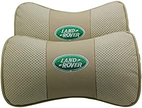 Wall Stickz Car Sales 2 PCS Genuine Leather Bone-Shaped Car Seat Pillow Beige Neck Rest Headrest Comfortable Cushion Pad with Logo Pattern Fit Land Rover Accessories