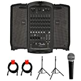 Fender Passport Venue Series 2 Portable Powered PA System with Vocal Microphone, 2x Speaker Stand & 2x XLR-XLR Cable Bundle