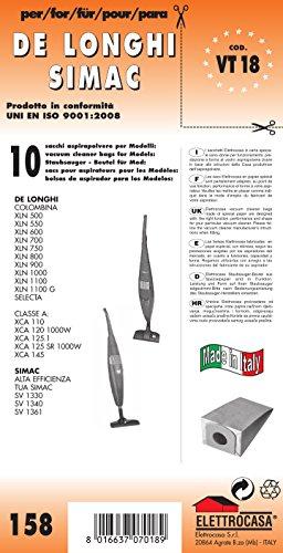 VT 18 sacchetti per scopa elettrica confezione da 10 sacchi carta