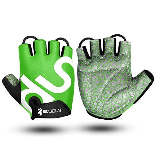 Guantes de Bicicleta Medio Dedo SBR Acolchado Absorción de Impactos Adecuado para Todos Los Deportes Verde S