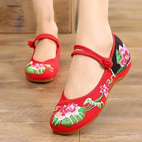 KHSKX-zapatos De mujer zapatos De Loto Bordado mujer zapatos De Estilo Folk El Aumento En El Tendón Final