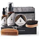 BEARD REVERENCE Premium Beard Grooming Kit for Men Care w/Upgraded Travel Bag – All-Natural Beard Oil, Beard Balm Butter Wax, Beard Wash, Scissors, Comb, Boar Bristle Brush with Gift Set Box