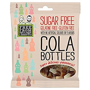 cola bottles - sugar, gelatine & gluten free jellies sweets 100g (pack of 1) Cola Bottles – Sugar, Gelatine & Gluten Free Jellies Sweets 100g (Pack of 1) 51GLZ3QZw2L