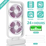 2019 New Portable Tower Fan, 10000mAh Cordless Oscillating Desk Fan with Dual Air