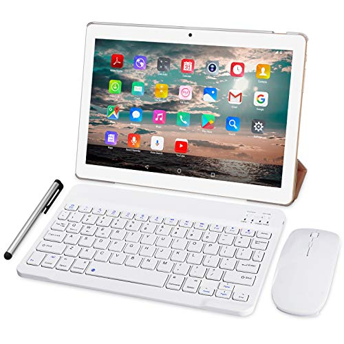 4G LTE Tablet 10 Pollici - TOSCIDO Octa Core 1.6GHz Tablet Android 10.0,4GB RAM,64GB ROM,Dual Sim,WiFi,Tastiera Wireless | Mouse | Cover per Tablet M863 e Altro Inclusa - D'oro