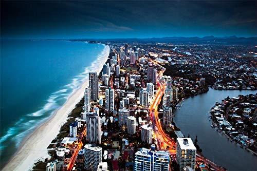 XUESONGSSD Diamantzeichnung DIY Golden City Coast DIY Diamant Malerei Kit Rahmenlos 30 * 40Cm
