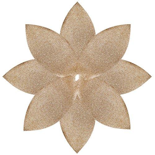 SORRENTO 90 CM Gold Poinsettia Christmas Tree Skirt Shiny Leaf Design Tree Skirt