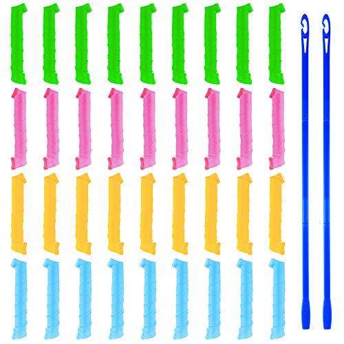 MIAHART 36 Pack Magic Lockenwickler Spiral Curls Wave Styling Hair Rollers Kit No Heat Lockenwickler und 2 Sets Stylinghaken für alle Haarlängen, 50 cm