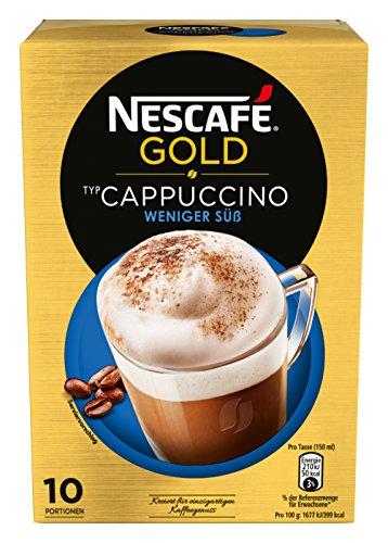 NESCAFÉ Gold Typ Cappuccino Weniger Süß, Getränkepulver aus Instant-Bohnenkaffee & Kaffeeweißer, lösliche Kaffee-Sticks (1 Packung, 10 x 12,5 g Sticks)