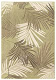 GAD Great American Distributors Yarpeq Premium Tropical Palm Tree Leaves 5x8 Indoor Outdoor Area Rug, Green/Cream, Stain Fade Resistant Rug for Patio, Porch, Lanai, Pool,Kitchen Bedroom